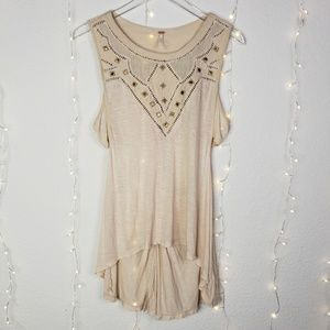 Free People High Low With Stud Detailing Tank Sz M